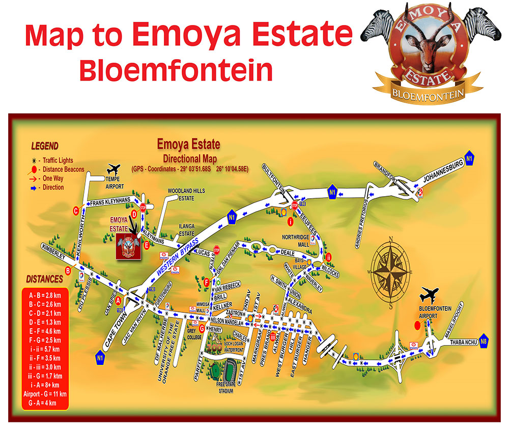 Map to Emoya Estate